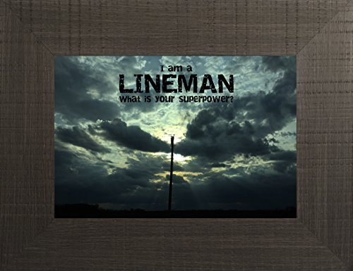 Lineman By Todd Thunstedt 20x26 Inspirational Utility Service Electric Power Line Religious Bible Verse Sunset Clouds Quote Saying Framed Art Print Wall Décor Picture