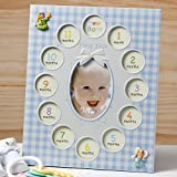 BABY'S 1st YEAR Photo COLLAGE FRAME - 13 Pictures - GIFT KEEPSAKE - CHRISTENING (BOY - Blue)