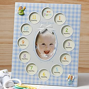 Amazon.com : BABY'S 1st YEAR Photo COLLAGE FRAME - 13 Pictures ...
