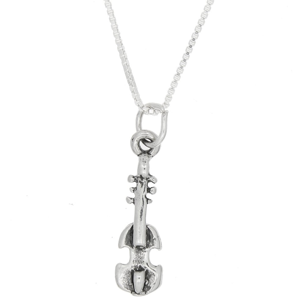Lgu Sterling Silver One Sided Violin Necklace