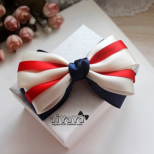 usongs Custom Naval College Wind dark blue striped bow headband hairpin hair ring toothed all-inclusive headdress hair accessories