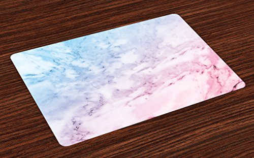 Ambesonne Marble Place Mats Set of 4, Pastel Toned Cloudy Hazy Crack Lines Stained Antique Shabby Chic Design, Washable Fabric Placemats for Dining Room Kitchen Table Decor, Pale Blue Baby Pink