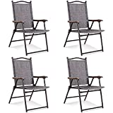Giantex Set of 4 Folding Sling Back Chairs Indoor Outdoor Reclining Camping Chairs Garden Patio Pool Beach Yard Recliners Lounge Chairs w/Armrest (2Gray)