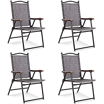 Amazon.com: Giantex Juego de 4 sillas plegables para patio ...