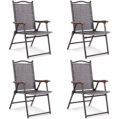 - Giantex Set of 4 Folding Sling Back Chairs Indoor Outdoor Camping Chairs Garden Patio Pool Beach Yard Lounge Chairs w/Armrest (Gray)