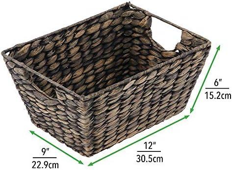 home, kitchen,  storage, organization 6 discount mDesign Natural Woven Hyacinth Closet Storage Organizer Basket deals