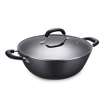 Los utensilios de cocina profesionales del cocinero giran la manija Wok no se oxida ninguna capa Pan de hierro fundido Rollsnownow (color : Caliber 32m): ...