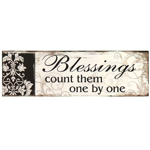 Adeco Decorative Wood Wall Hanging Sign Plaque Blessings: Count Them One by One Black Off White Home Decor - 13.8x4.3 Inches
