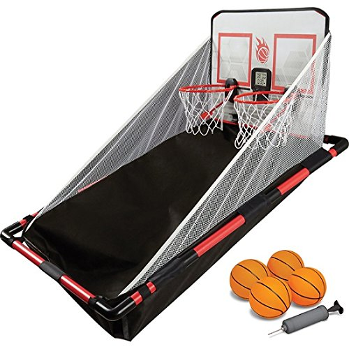 NEW!! 2-Player ''Arcade-Style'' Over-the-Door Basketball Hoops Game Set with Built-in Sound Effect and Electronic LED Scoreboard, Black/ Red Finish by Sharper