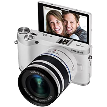 "Samsung NX300M 20.3MP CMOS Smart WiFi & NFC Mirrorless Digital Camera with 18-55mm Lens and 3.3"" AMOLED Touch Screen (White)"