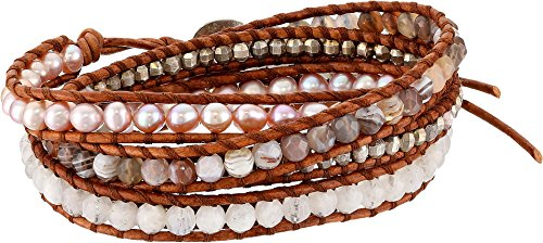 Semi Precious Nuggets (Chan Luu Women's Sterling Silver 5 Wrap Bracelet on Leather with Nuggets, Semi Precious Stones and Fresh Water Pearls Pink Pearl Mix One Size)