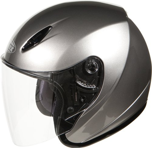 lt Open Face Motorcycle/Scooter Street Helmet (Titanium, Small) (State Street Flush)