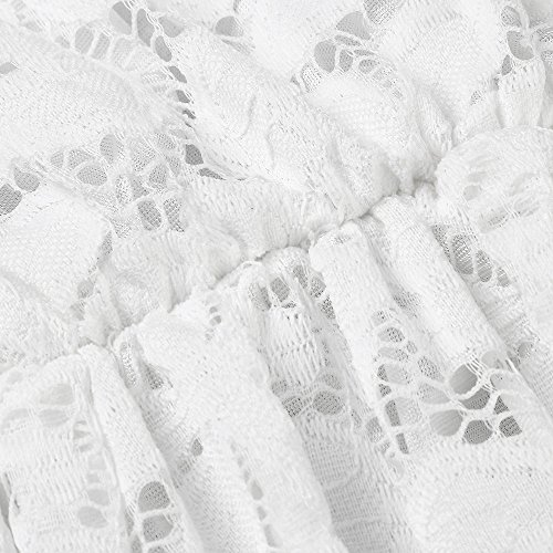 Blanco de vendimia fiesta Vestido descubiertos mujer de las vestido AIMEE7 noche la de vestido coctel de hombros fiesta vestido vestido elegante formal mujeres larga de manga escote 7AFgx4wq