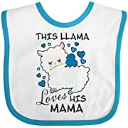 Inktastic - This Llama Loves His Mama with Blue Baby Bib White/Turquoise 2ebcf