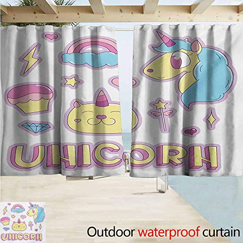 (AndyTours Window Curtains,Unicorn Cat Collection Fantastic Icons Magic Horse Kitten Cupcake Rainbow,Draft Blocking Draperies,W72x45L Inches,Sky Blue Pink Pale Yellow)