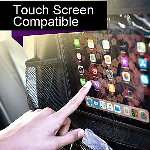 Car Organizer Back Seat Kick Mat Car Backseat Protector with Touch Screen Tablet Holder Storage Pockets for Toys Book Bottle Drinks Kids Baby Toddler Travel Accessories