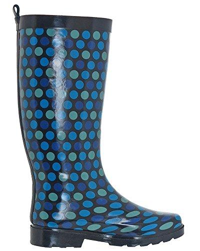 Capelli New York Ladies Stivali Da Pioggia Alti In Gomma Sportivi Con Pois Blu Navy
