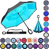 Zameka Double Layer Inverted Umbrellas Reverse Folding Umbrella Windproof UV Protection Big Straight