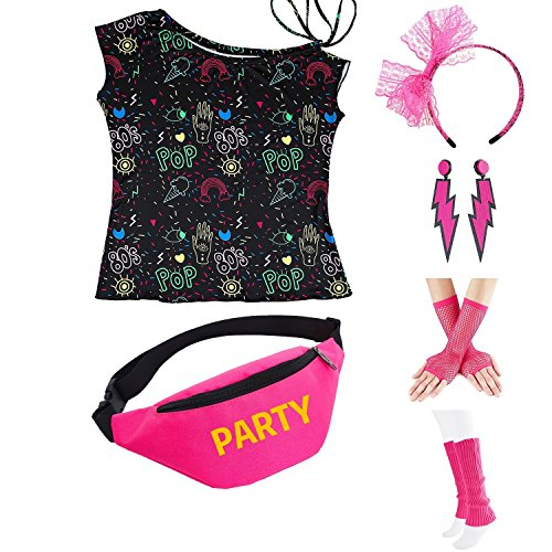 Womens 80s Accessories, I Love The 80's / 80s Pop/Sexy Lips Shoulder T-Shirt Outfit/Tutu Skirt/Neon Fanny Packs for 1980s Party Costume,Bag1,Pop,L ()