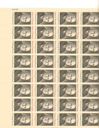 Harry S. Truman Full Sheet of 32 X 8 Cent Us Postage Stamps Scot #1499 by U.S. Mail