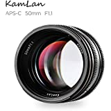 SainSonic Kamlan 50mm F1.1 APS-C Large Aperture Manual Focus Lens Standard Prime Lens for Canon EOS-M Mount Mirrorless Camera