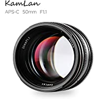 Kamlan 50mm/F1.1 Standard Prime Lens with X Mount for All Fujifilm X Series Mirrorless Digital Cameras, APS-C, Large Aperture