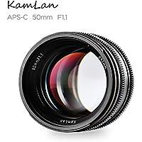 Kamlan 50mm F1.1 APS-C Large Aperture Manual Focus Lens, Standard Prime Lens for Sony E-Mount Mirrorless Camera, Sony NEX3, 3N, 5, 5T, 5R, 6 and Alpha a7, a7R,a7S, A5000, A5100, A6000, A6100 A6300