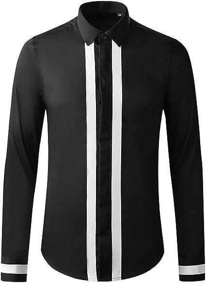 Reeamy-Home Camisa de Hombre Camisa de Manga Larga de Moda ...