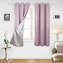 Deconovo Blackout Curtains Room Darkening Blackout Curtains with Silver Coating for Nursery 42 By 63 Inch Pink Lavender 1 Pair