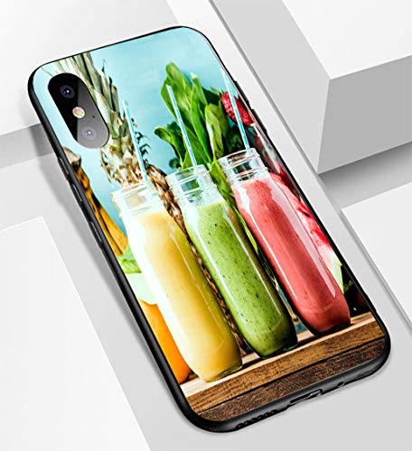 - iPhone X/XS Ultra-Thin Glass Back Phone case,Freshly Blended Fruit Smoothies and Tastes Soft and Easy to Protect The Protective case