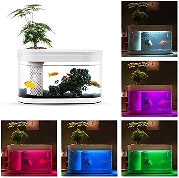 NOVSIGHT XIAOMI Aquarium Ovale avec 5 Ajustable Lampes Eclairages Lumières  LED pour Poisson Petit Jardin d\'eau Décor en PMMA + ABS Plastique Blanc