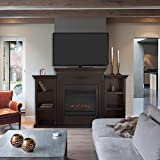 XtremepowerUS Electric Portable Fireplace w/ TV Stand, Bookcases, large (Espresso, with fireplace)