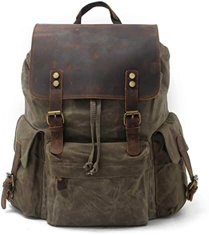 SUVOM Vintage Canvas Leather Laptop Backpack College School Bag Travel Rucksack 15.6 Inch
