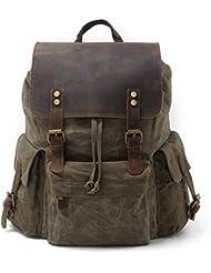 SUVOM Vintage Canvas Leather Laptop Backpack for Men School Bag 15.6' Waterproof Travel Rucksack
