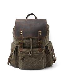 "SUVOM Vintage Canvas Backpacks 15.6"" Laptop Rucksack Waterproof Leather Daypack (Army green)"