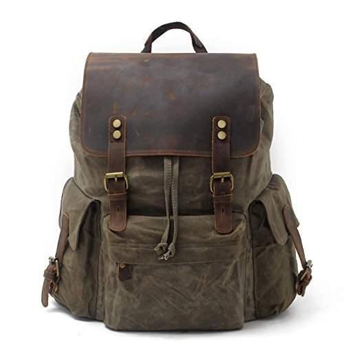 "SUVOM Vintage Canvas Leather Laptop Backpack for Men School Bag 15.6"" Waterproof Travel Rucksack (Green)"