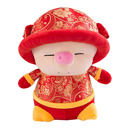 Yamalans 2019 New Year Cute Mascot Pig Doll Toy with Chinese Tang Suit Dress,Plush Cushion Pillow Stuffed Animal Toys Kid Doll Gift 40cm]()
