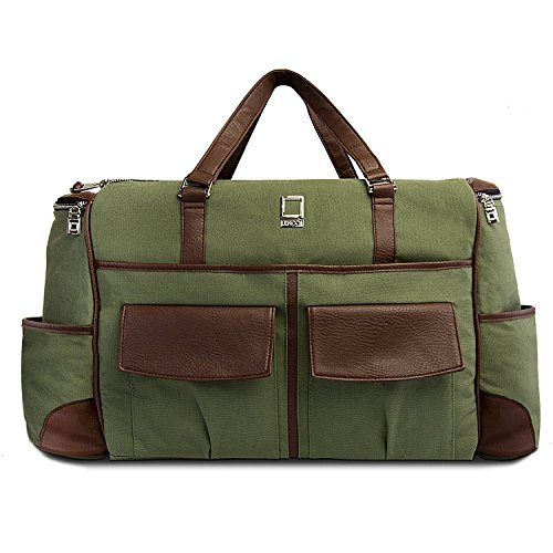 lencca-alpaque-duffle-luggage-laptop-shoulder-bag-for-up-to-156-laptop-forest-green-espresso-brown