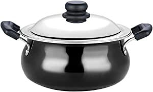 Vinod Pearl Hard Anodised Handi with Stainless Steel Lid, 6.5 L, Black