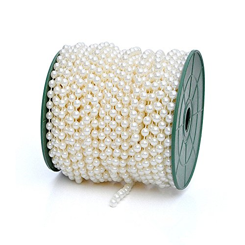 DIY Jewery Accessory 28 yd 6mm Pearls Beads By the Roll Color Ivory