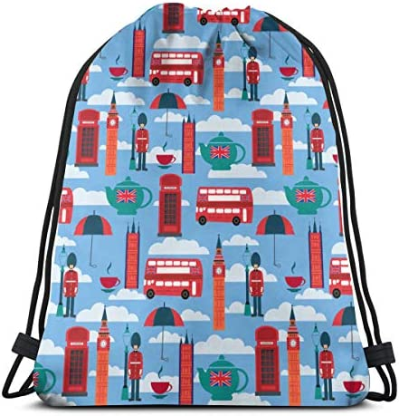 ロンドンのランドマークと英国のシンボル防水巾着バッグジムバッグスポーツバックパック男性女性女の子36 x 43 cm