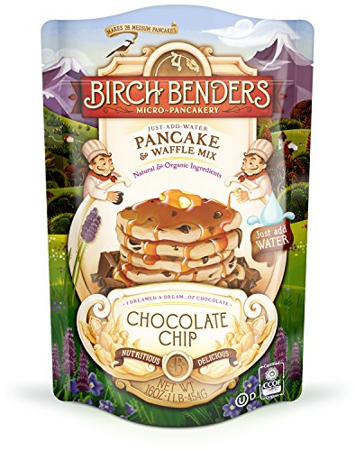 Organic Chocolate Chip Pancake and Waffle Mix by Birch Benders, Whole Grain, Non-GMO, 16oz