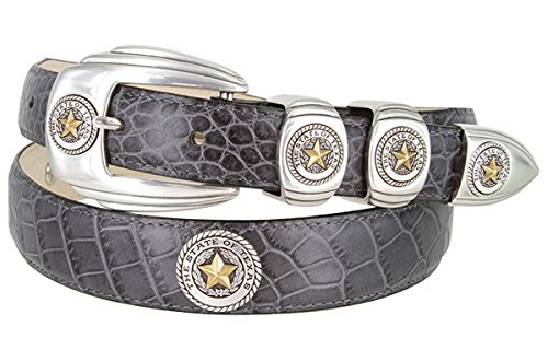 Buckle Seal (2058 Texas Seal Antique Silver Antique Gold Calfskin Leather Dress Belt - Gray, 36)