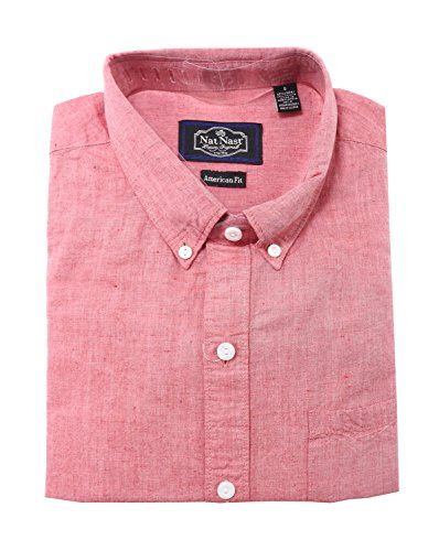 Nat Nast Luxury Originals Mens American Fit Button Down Shirt (XX-Large, Red)