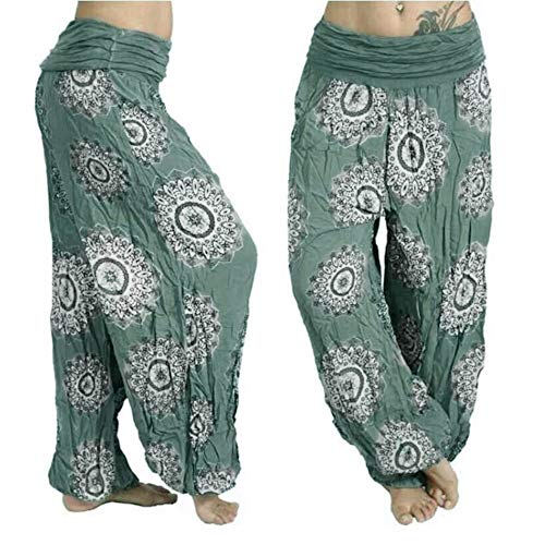 Hivot Harem Pants for Women Pajama Pants Bell Bottom Pants Lounge Pants Yoga Trousers Boho Beach Flared Pants Green