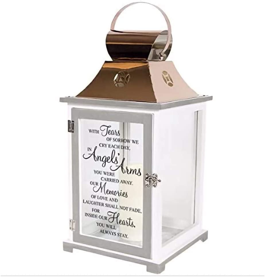 Carson Home Accents Indoor Outdoor Angels Arms Memorial Sympathy Copper Candle Lantern for Loss of Loved One with Automatic 6 Hour Timer and Poem
