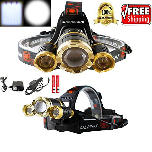 WALLER PAA 30000 Headlamp Zoomable XML 3-T6 LED Headlight Rechargeable Torch (Yellow Track Lighting Fixture)