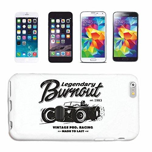 """cas de téléphone iPhone 6S """"LEGENDARY CLASSIC CAR BURNOUT VINTAGE HOT ROD CAR US Mucle CAR V8 ROUTE 66 USA AMÉRIQUE"""" Hard Case Cover Téléphone Covers Smart Cover pour Apple iPhone en blanc"""