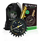 Rhino USA Heavy Duty Tire Pressure Gauge (0-60 PSI) - Certified ANSI B40.1 Accurate, Large 2'' Easy Read Glow Dial, Premium Braided Hose, Solid Brass Hardware, Best For Any Car, Truck, Motorcycle, RV
