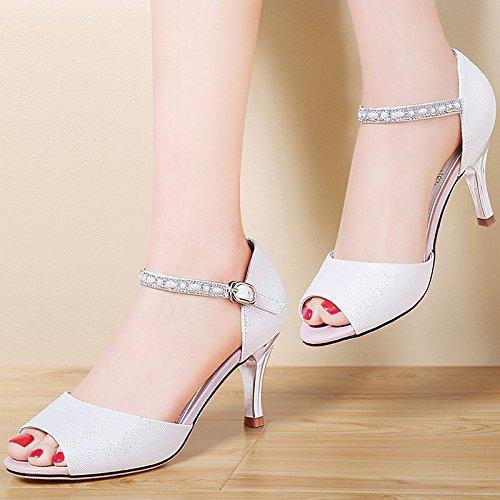 Moda Mujer verano sandalias confortables tacones altos,37 blanco White